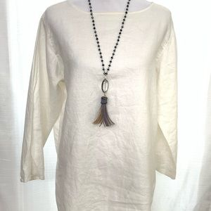 111 State 100% Linen White Tunic Medium